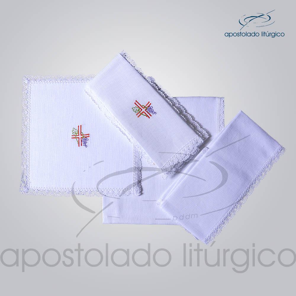 Conjunto de Altar de Linho Bordado Cruz Uva COD 01771 0003 | Apostolado Litúrgico Brasil