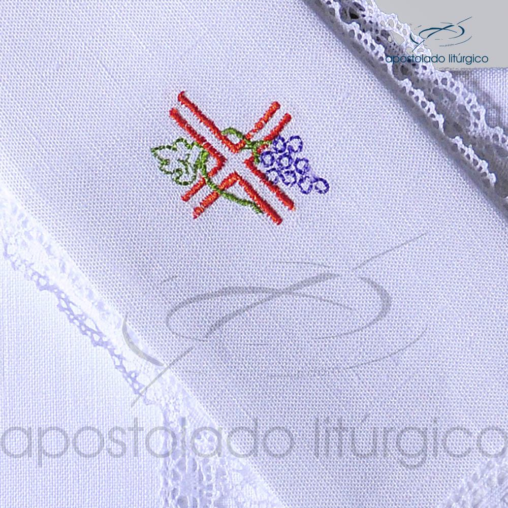 Conjunto de Altar de Linho Bordado Cruz Uva Dezenho COD 01771 0003 | Apostolado Litúrgico Brasil