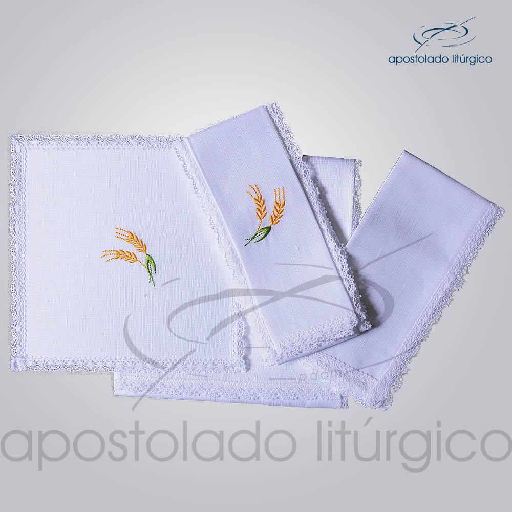 Conjunto de Altar de Linho Bordado Trigo COD 01771 0001 | Apostolado Litúrgico Brasil