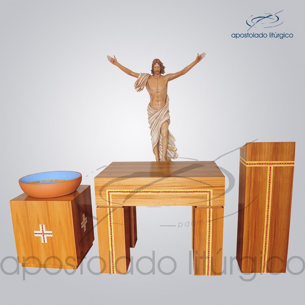 Conjunto Mosaico Altar COD 4153 Ambão COD 4154 Suporte COD 4228 Cristo Ressucitado COD 4141 Pia Batismal COD 4181 | Apostolado Litúrgico Brasil