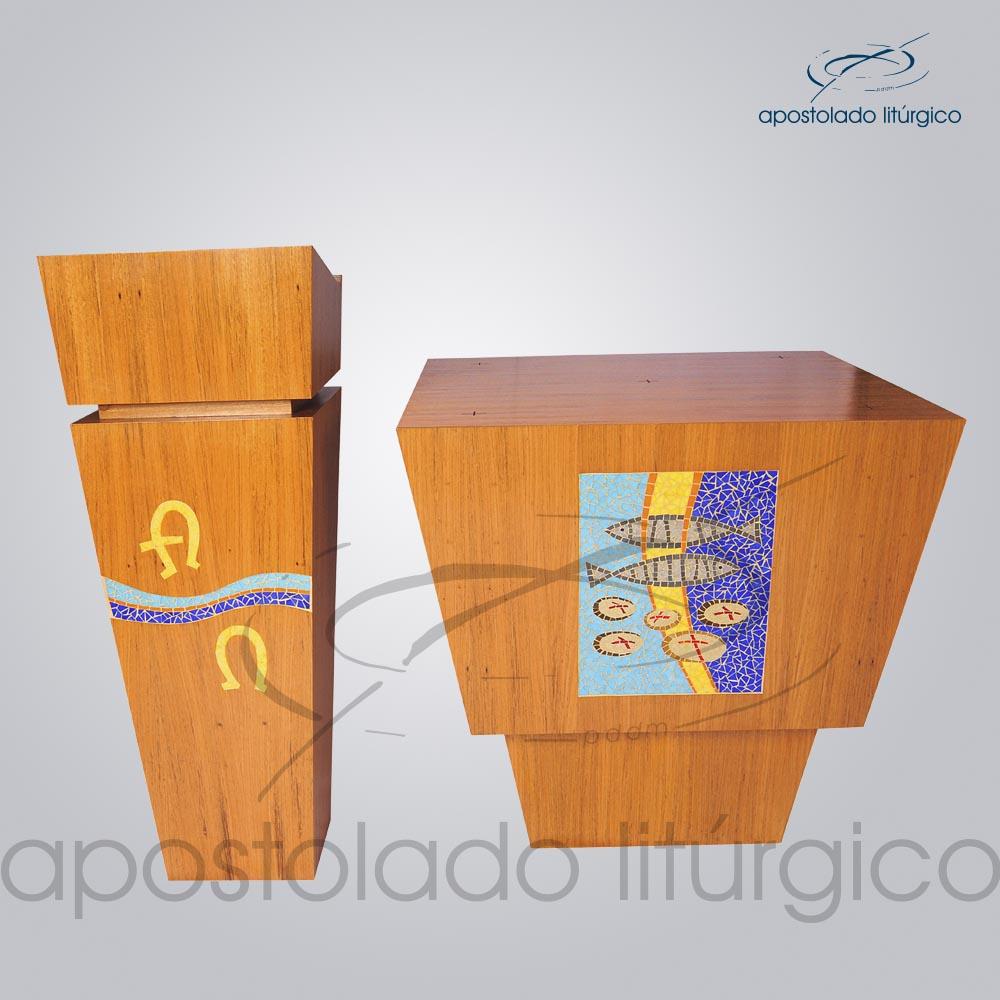 Conjunto Mosaico Peixe Pão Altar COD 4230 Ambão COD 4231 | Apostolado Litúrgico Brasil