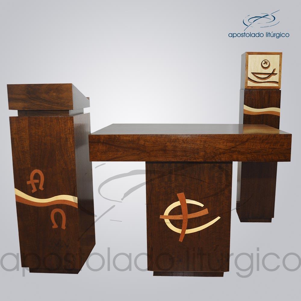 Conjunto para Capela Madeira com aplicacao marchetaria 4202 4203 4198 4196   Apostolado Litúrgico Brasil