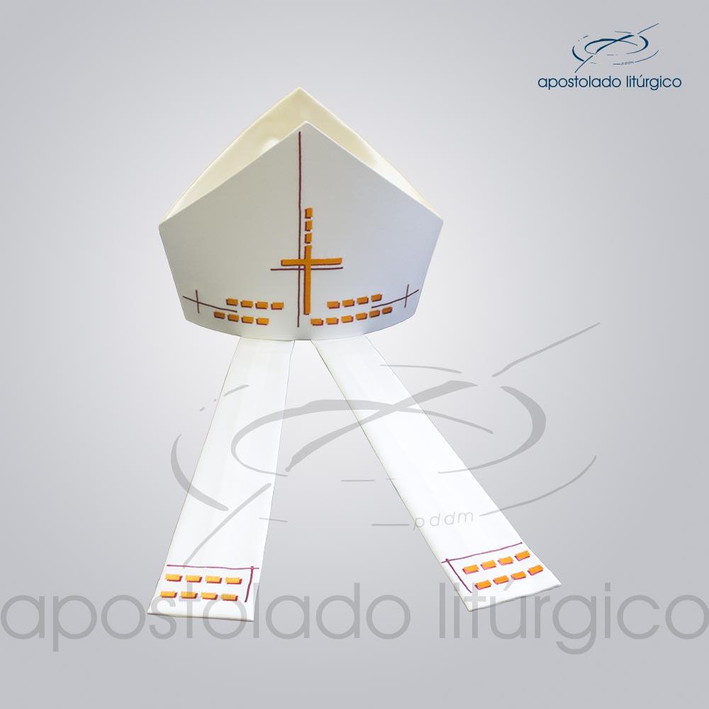 Mitra Gótica Bordada Cruz Gloriosa Branca infolas | Apostolado Litúrgico Brasil