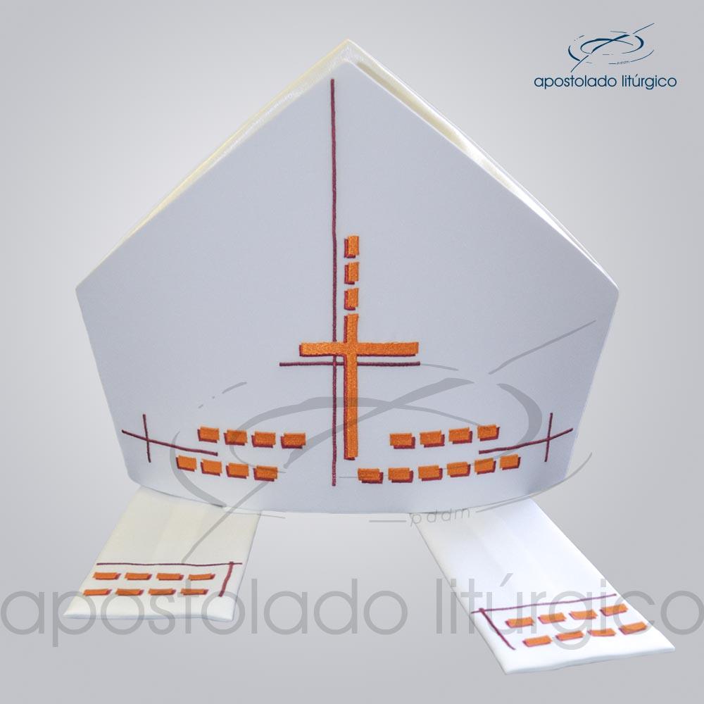 Mitra Gótica Bordada Cruz Gloriosa Branca | Apostolado Litúrgico Brasil