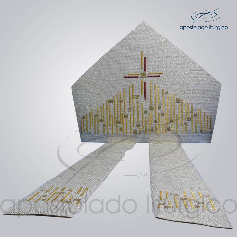 Mitra Ravena bordado Cordeiro COD 3162 | Apostolado Litúrgico Brasil
