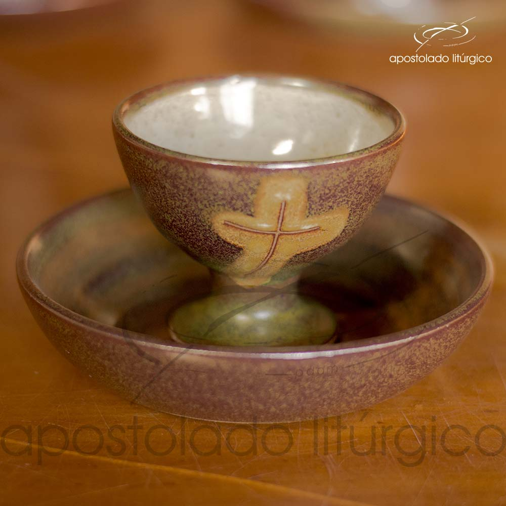 Calice Pequeno e Patena Verde Oliva com Marrom Calice e Patena Copo | Apostolado Litúrgico Brasil