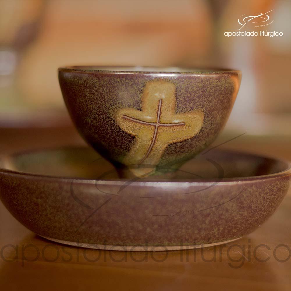 Calice Pequeno e Patena Verde Oliva com Marrom Calice e Patena Frente | Apostolado Litúrgico Brasil