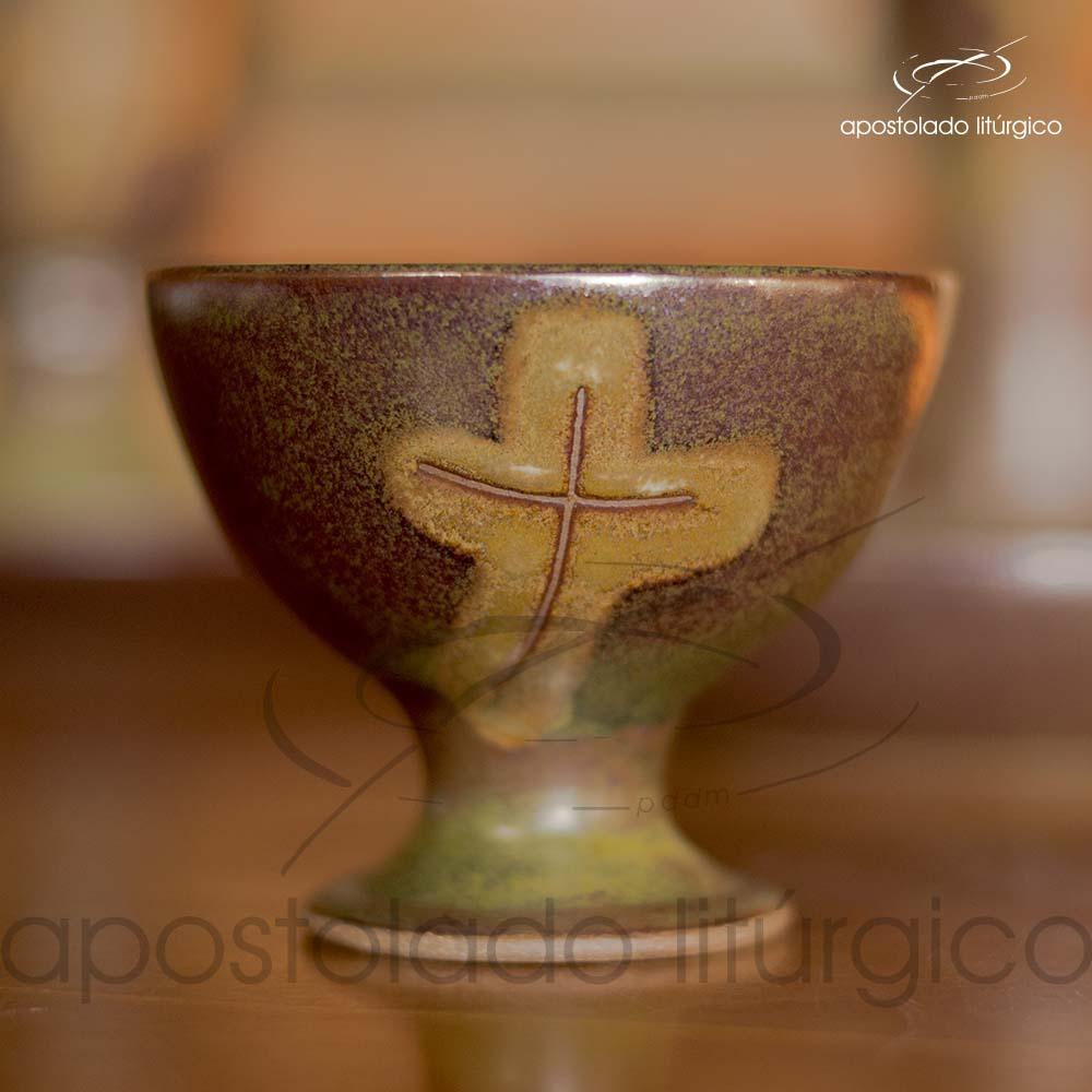 Calice Pequeno e Patena Verde Oliva com Marrom Calice | Apostolado Litúrgico Brasil