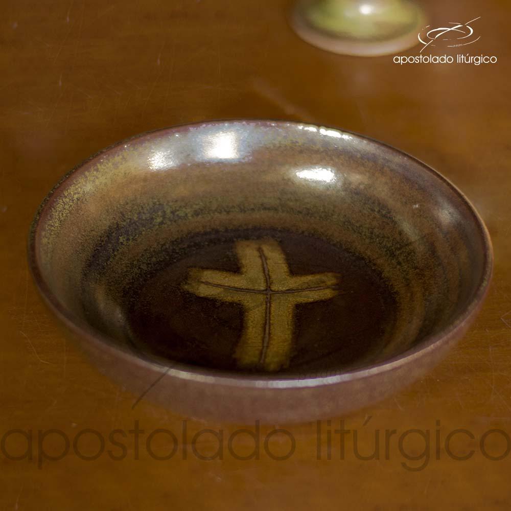 Calice Pequeno e Patena Verde Oliva com Marrom Patena 1 | Apostolado Litúrgico Brasil