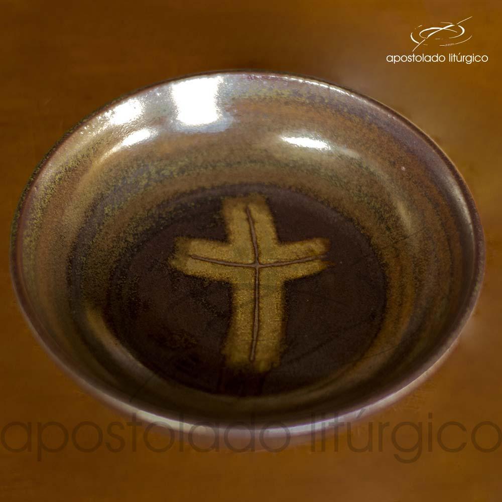 Calice Pequeno e Patena Verde Oliva com Marrom Patena | Apostolado Litúrgico Brasil