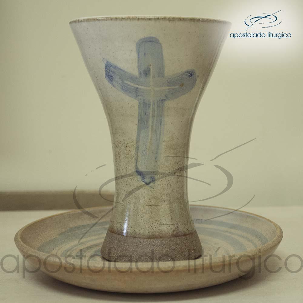 Calice Reto e Patena Mel com Azul Grande Calice e Patena | Apostolado Litúrgico Brasil