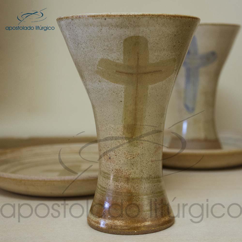 Calice Reto e Patena Mel com Marrom Calice | Apostolado Litúrgico Brasil