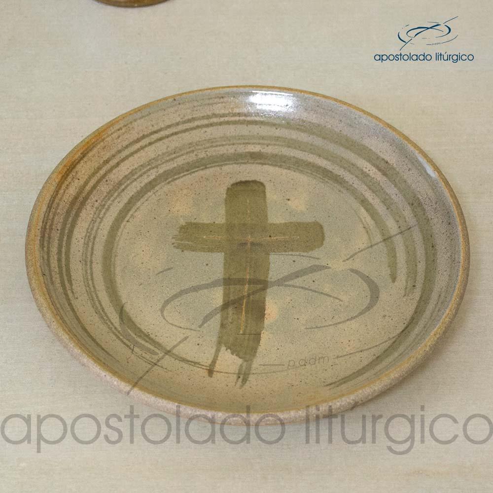 Calice Reto e Patena Mel com Marrom Patena | Apostolado Litúrgico Brasil