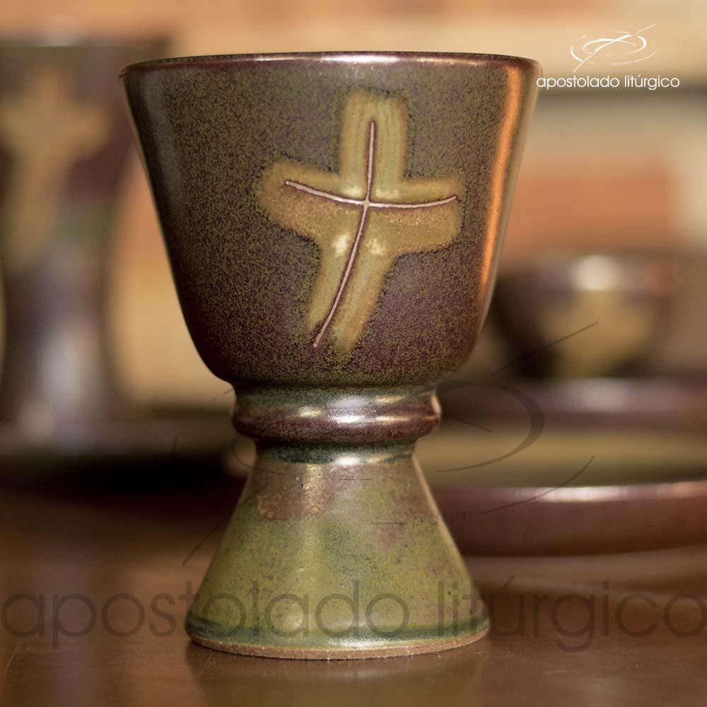 Calice com Anel e Patena Verde Oliva com Marrom Calice 1 | Apostolado Litúrgico Brasil