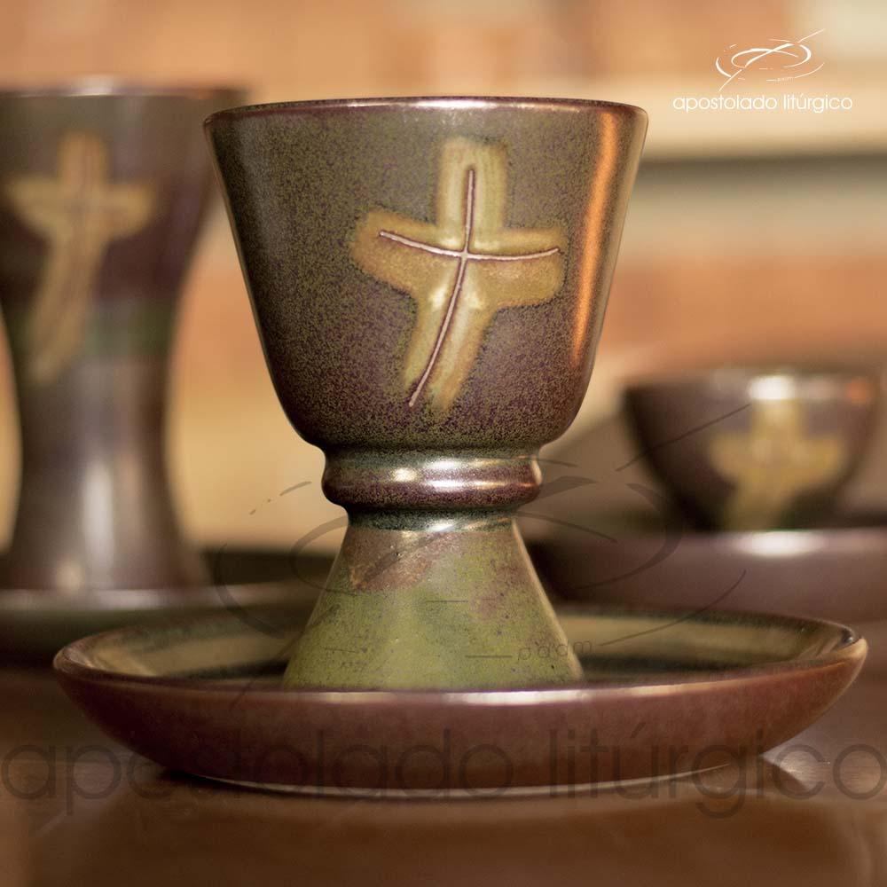 Calice com Anel e Patena Verde Oliva com Marrom Calice e Patena Frente 1 | Apostolado Litúrgico Brasil