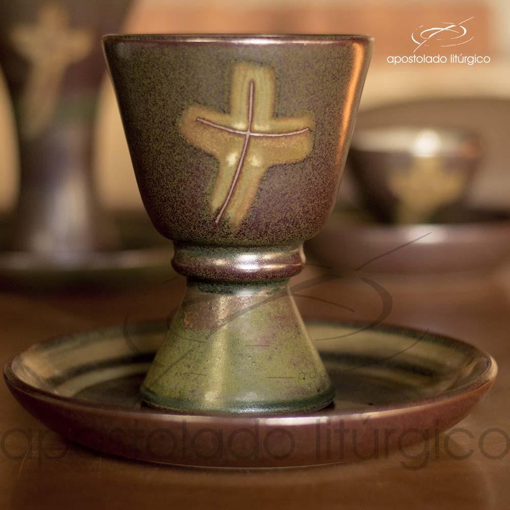 Calice com Anel e Patena Verde Oliva com Marrom Calice e Patena Frente | Apostolado Litúrgico Brasil