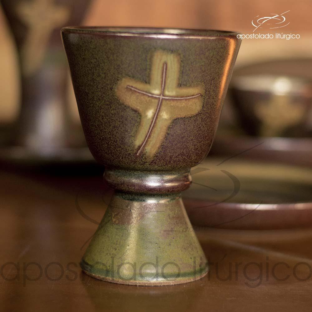 Calice com Anel e Patena Verde Oliva com Marrom Calice | Apostolado Litúrgico Brasil