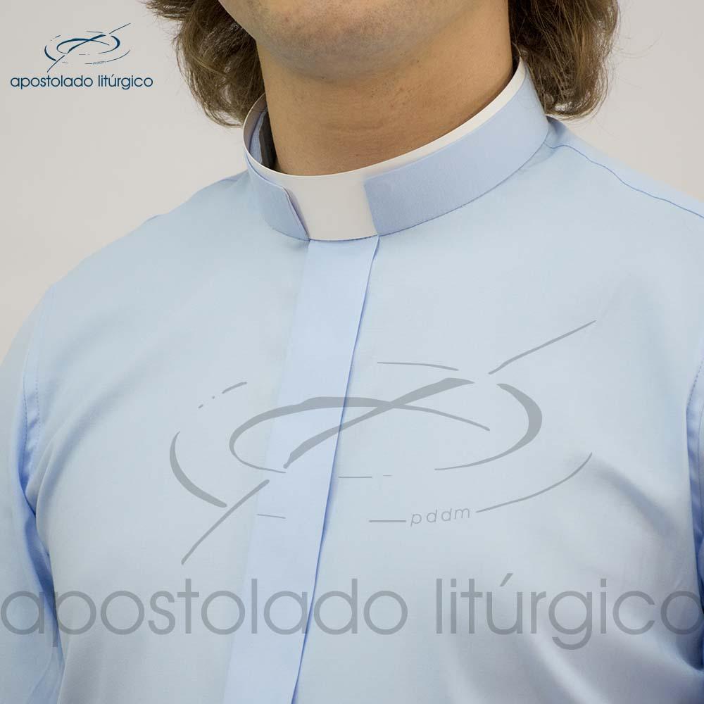 Camisa Slim Fit Gola Romana Azul Claro Manga Curta Gola | Apostolado Litúrgico Brasil