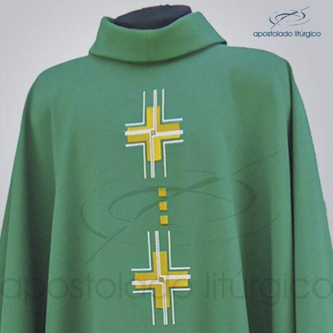 Casula Cruz Gloriae Bordada Oxford Verde Frente Detalhe – COD. 39934
