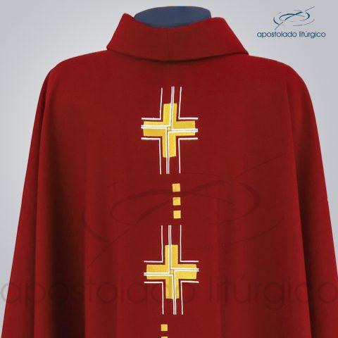 Casula Cruz Gloriae Bordada Oxford Vermelha Frente – Bustos
