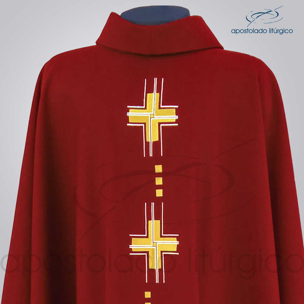 Casula Cruz Gloriae Bordada Oxford Vermelha Frente Bustos | Apostolado Litúrgico Brasil
