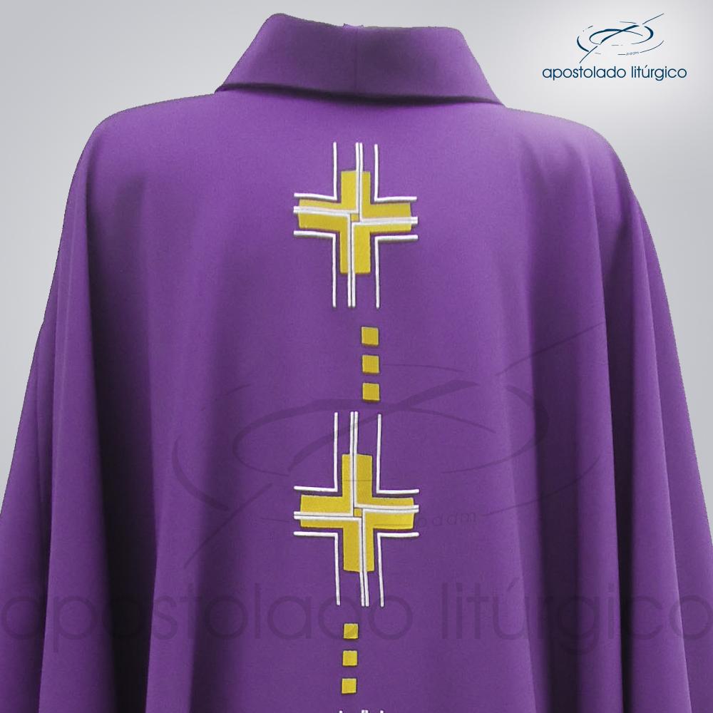 Casula Cruz Gloriae Oxford Roxa Frente COD 39927 Superior | Apostolado Litúrgico Brasil