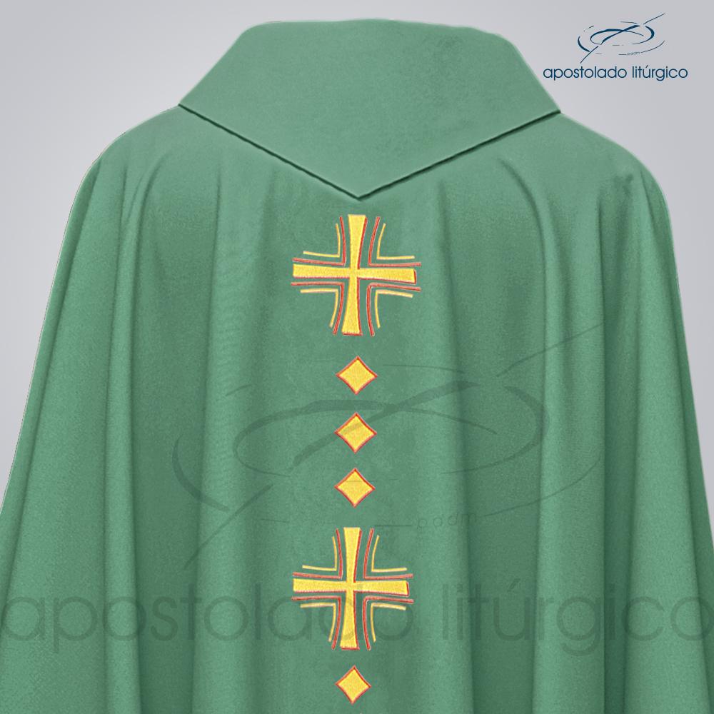 Casula Oxford Bordada Cruz Vida Verde Costas Detalhe COD 03096 | Apostolado Litúrgico Brasil