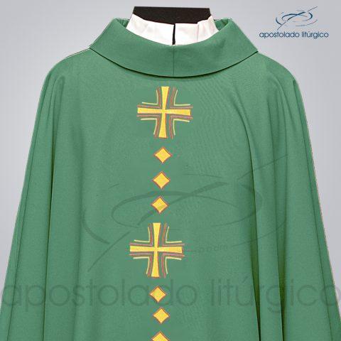 Casula Oxford Bordada [Cruz Vida] Verde Frente – COD 03096 – Detalhe