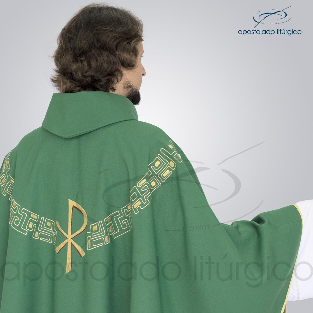 Casula Oxford Bordada PX Verde Modelo Costas Busto | Apostolado Litúrgico Brasil