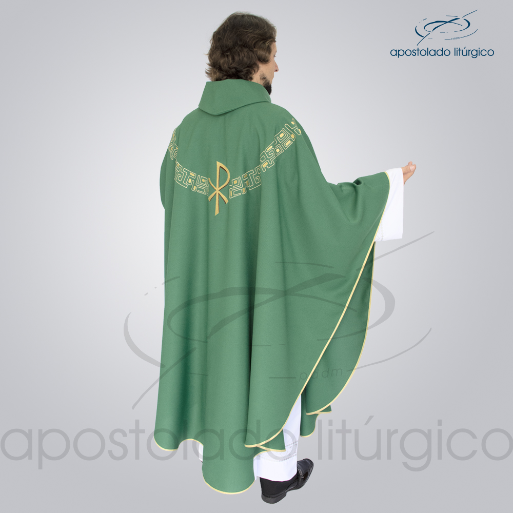Casula Oxford Bordada PX Verde Modelo Costas | Apostolado Litúrgico Brasil