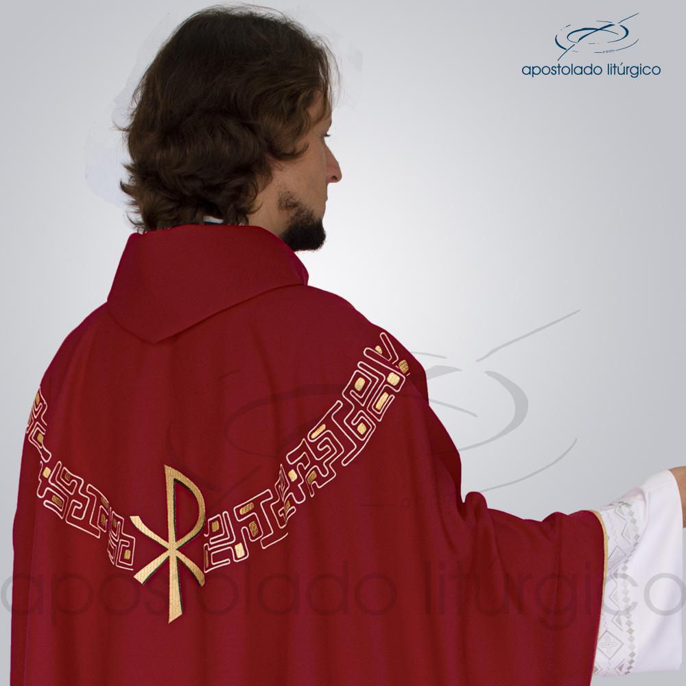 Casula Oxford Bordado PX Vermelha Costas Busto | Apostolado Litúrgico Brasil