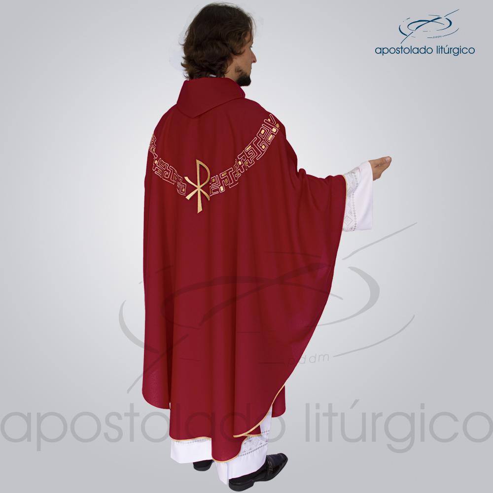 Casula Oxford Bordado PX Vermelha Costas | Apostolado Litúrgico Brasil
