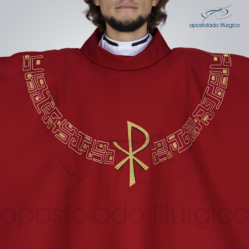 Casula Oxford Bordado PX Vermelha Frente Busto | Apostolado Litúrgico Brasil