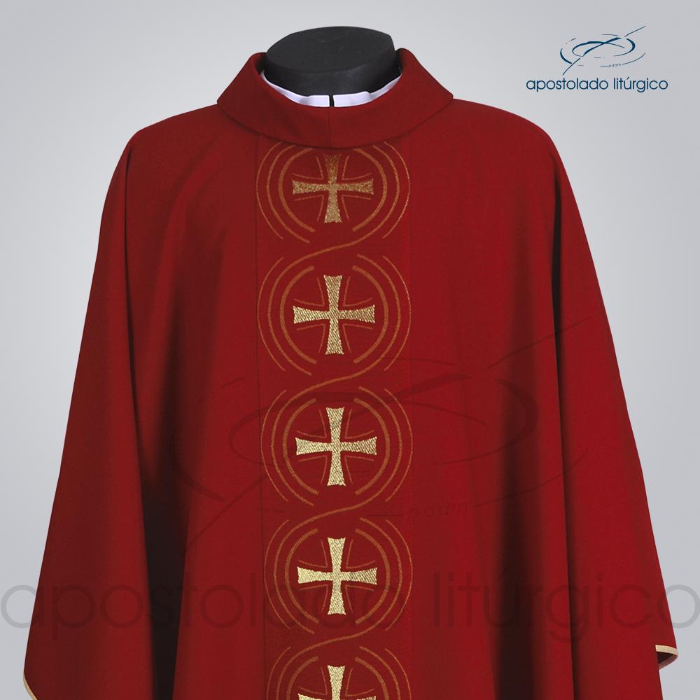 Casula Oxford Galão Circulo Cruz Vermelha Frente Busto COD 3429 | Apostolado Litúrgico Brasil