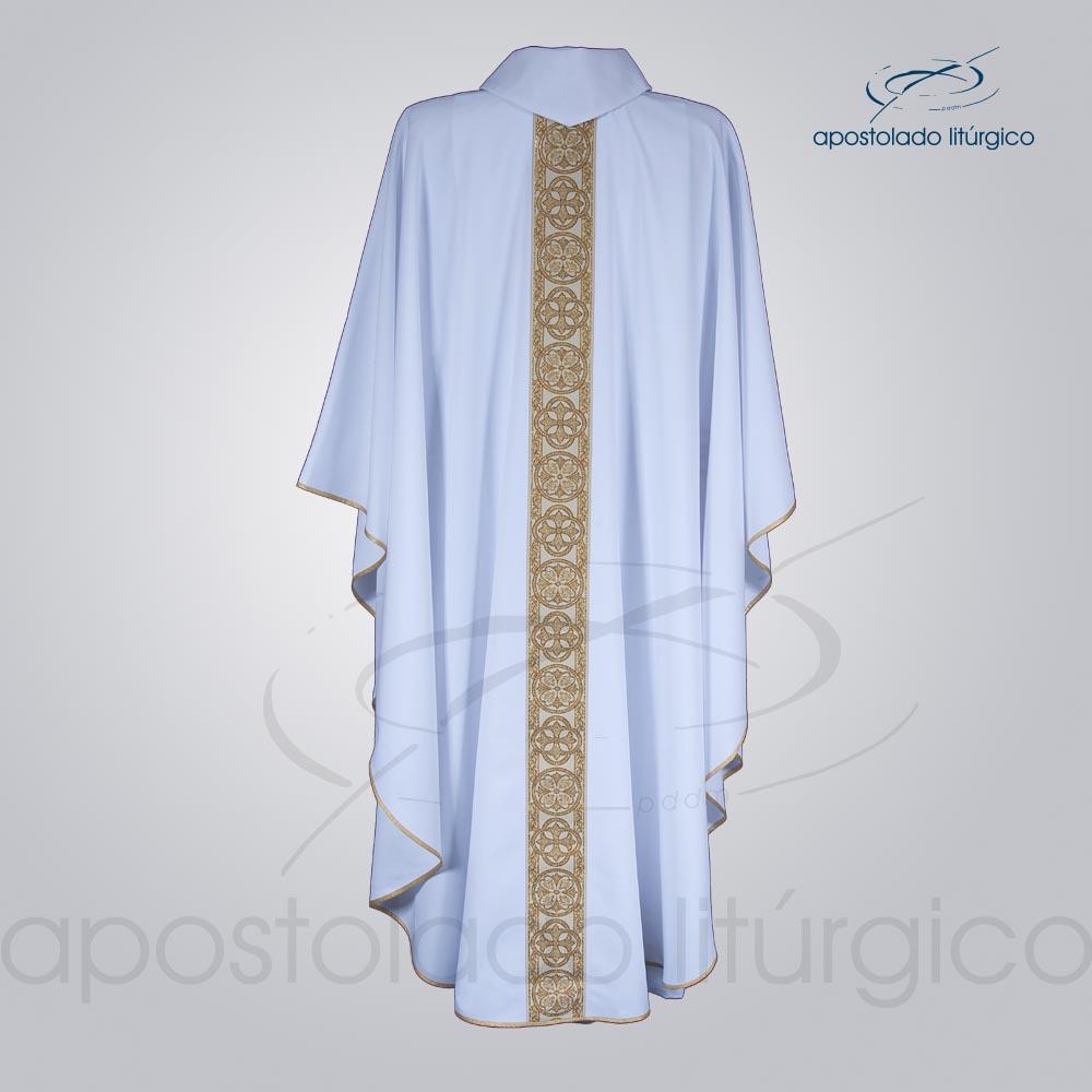 Casula Oxford Galão Largo 10 Branca Costas cod 3345 | Apostolado Litúrgico Brasil
