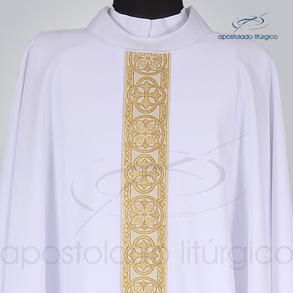 Casula Oxford Galão Largo 10 Branca Frente cod 3345 detalhe | Apostolado Litúrgico Brasil