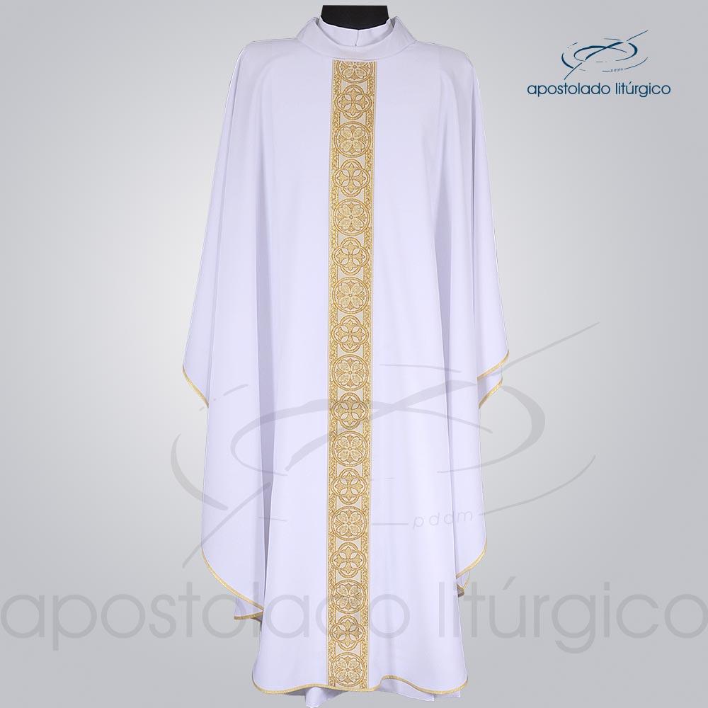 Casula Oxford Galão Largo 10 Branca Frente cod 3345 | Apostolado Litúrgico Brasil
