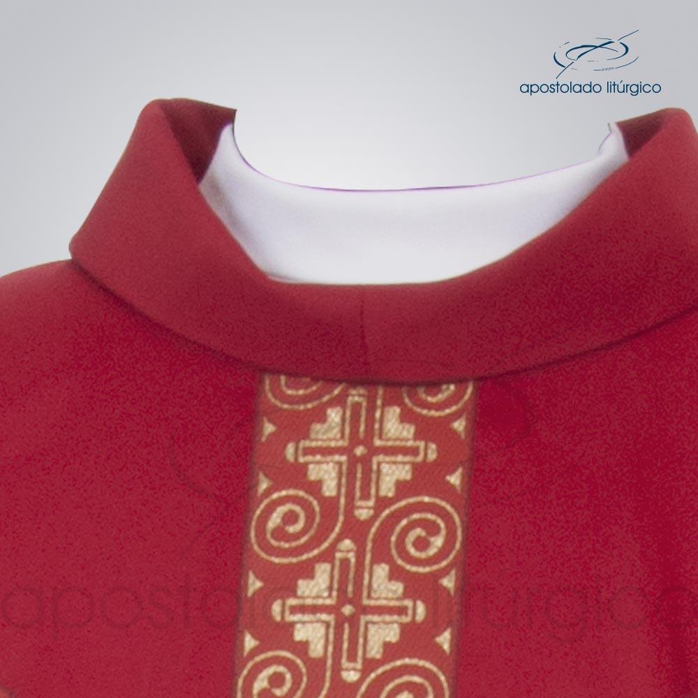 Casula Oxford Galão Largo 9 Vermelha frente cod 3359 | Apostolado Litúrgico Brasil