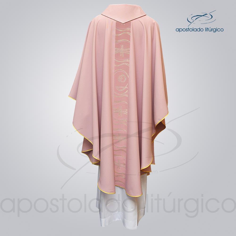 Casula Oxford Galão Peixe Cruz Rosa Costa cod 3143   Apostolado Litúrgico Brasil