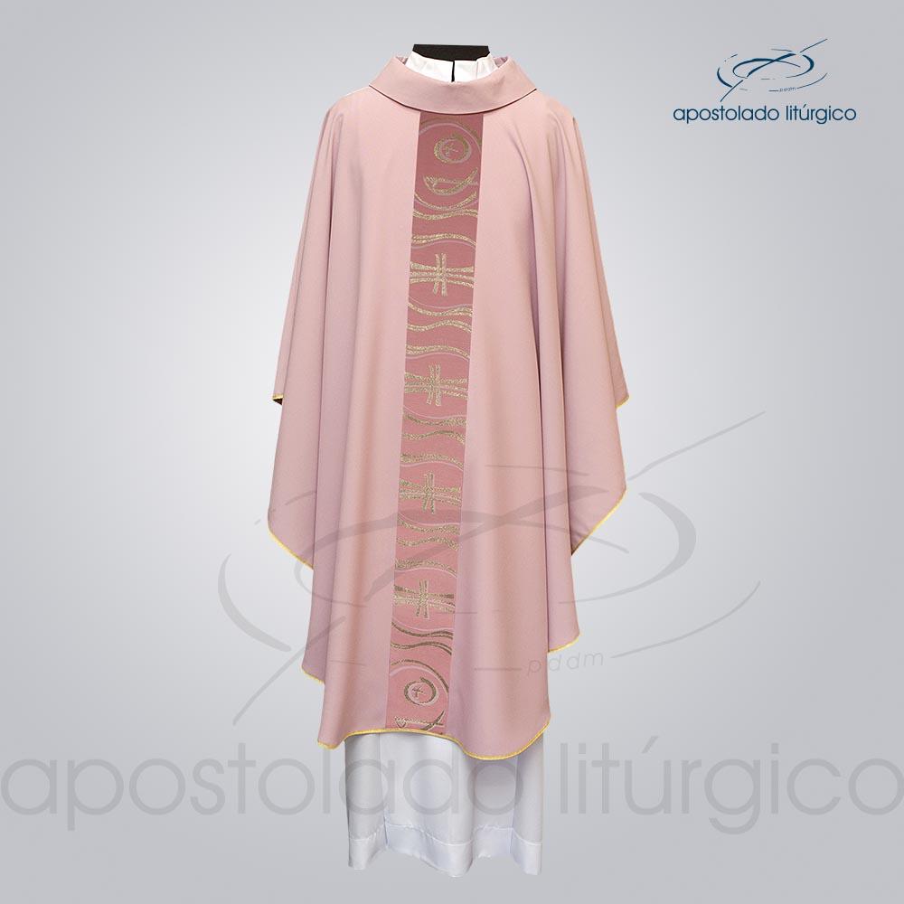 Casula Oxford Galão Peixe Cruz Rosa Frente cod 3143   Apostolado Litúrgico Brasil
