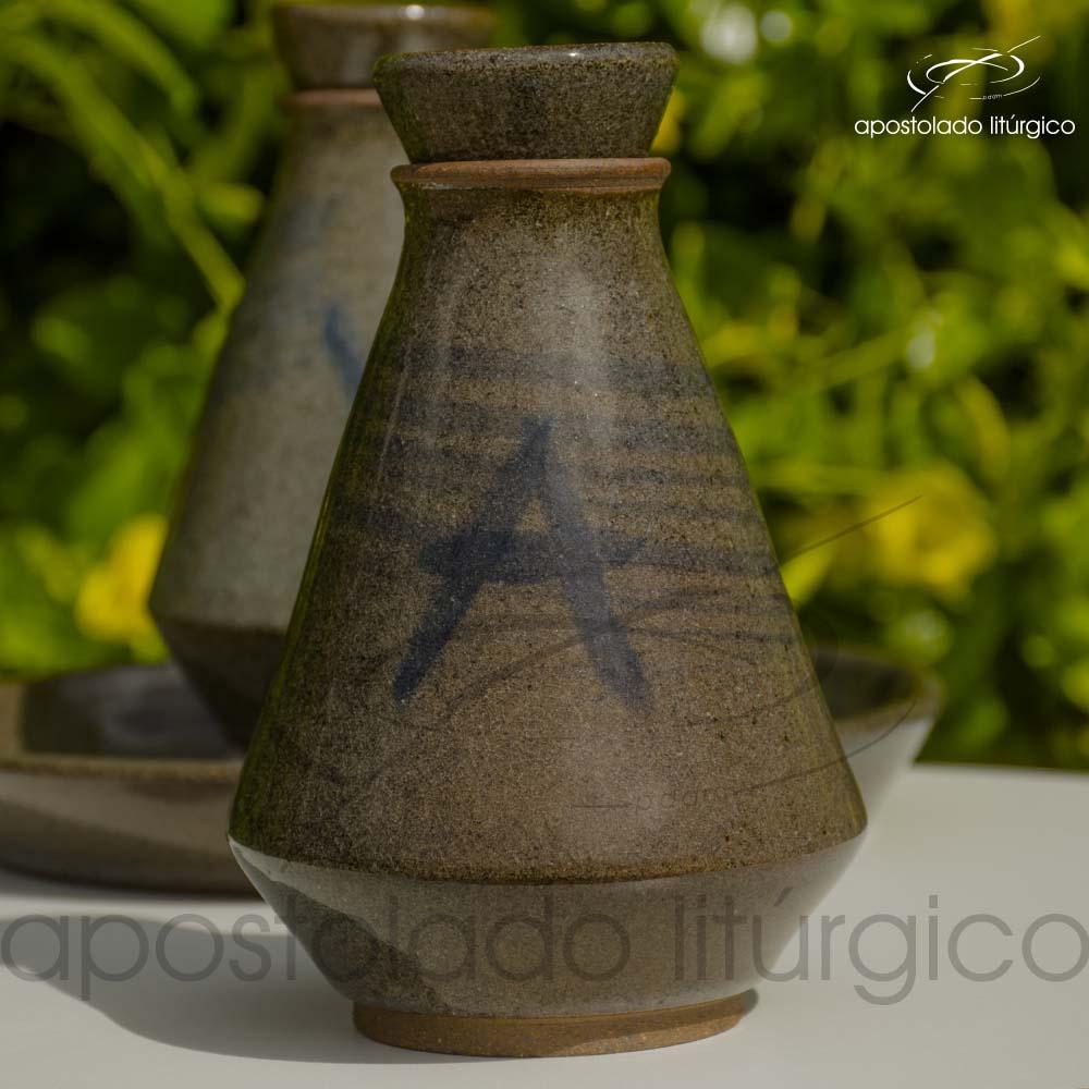 Conjunto de Galheta Cinza Esverdeado Agua Frente | Apostolado Litúrgico Brasil