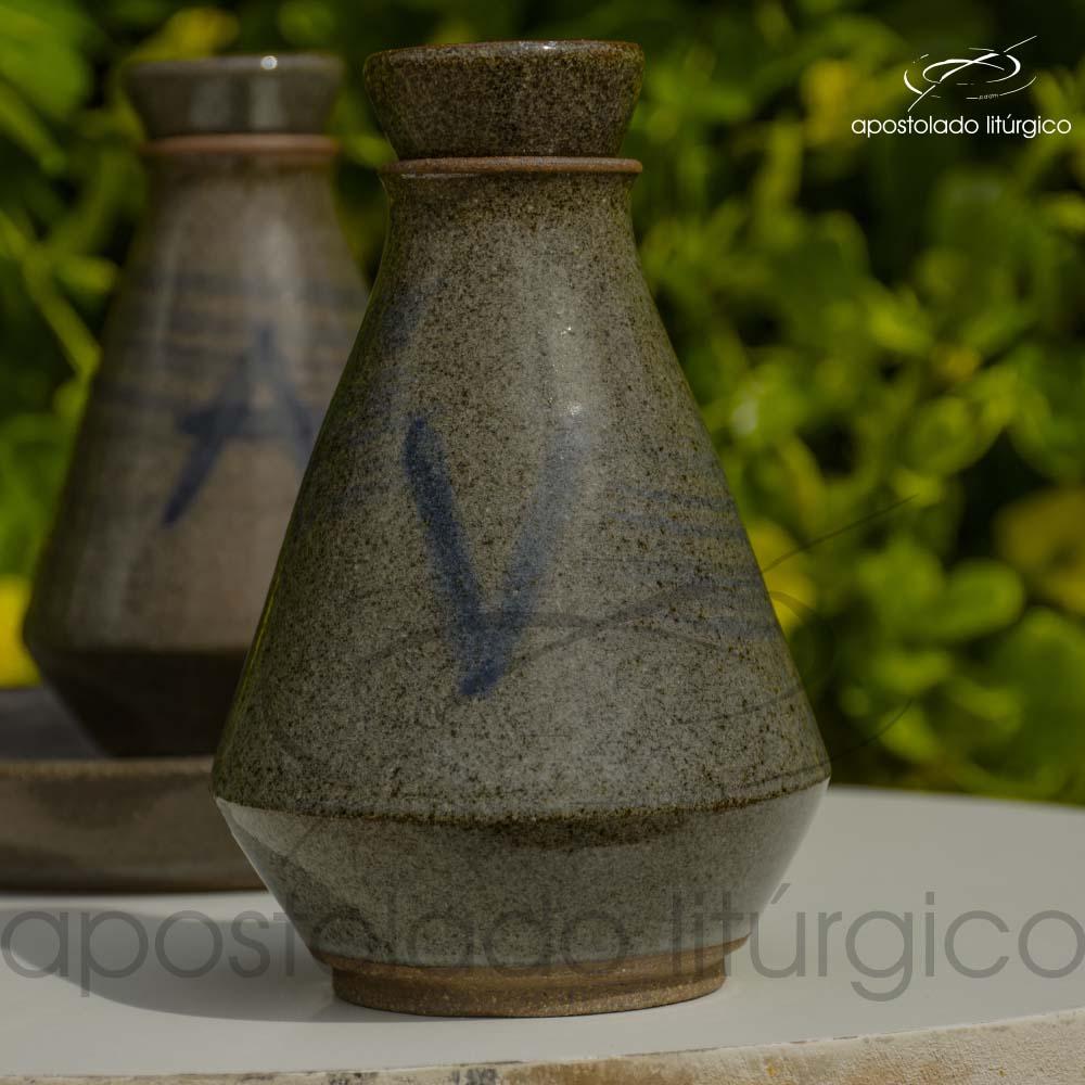 Conjunto de Galheta Cinza Esverdeado Vinho Frente | Apostolado Litúrgico Brasil