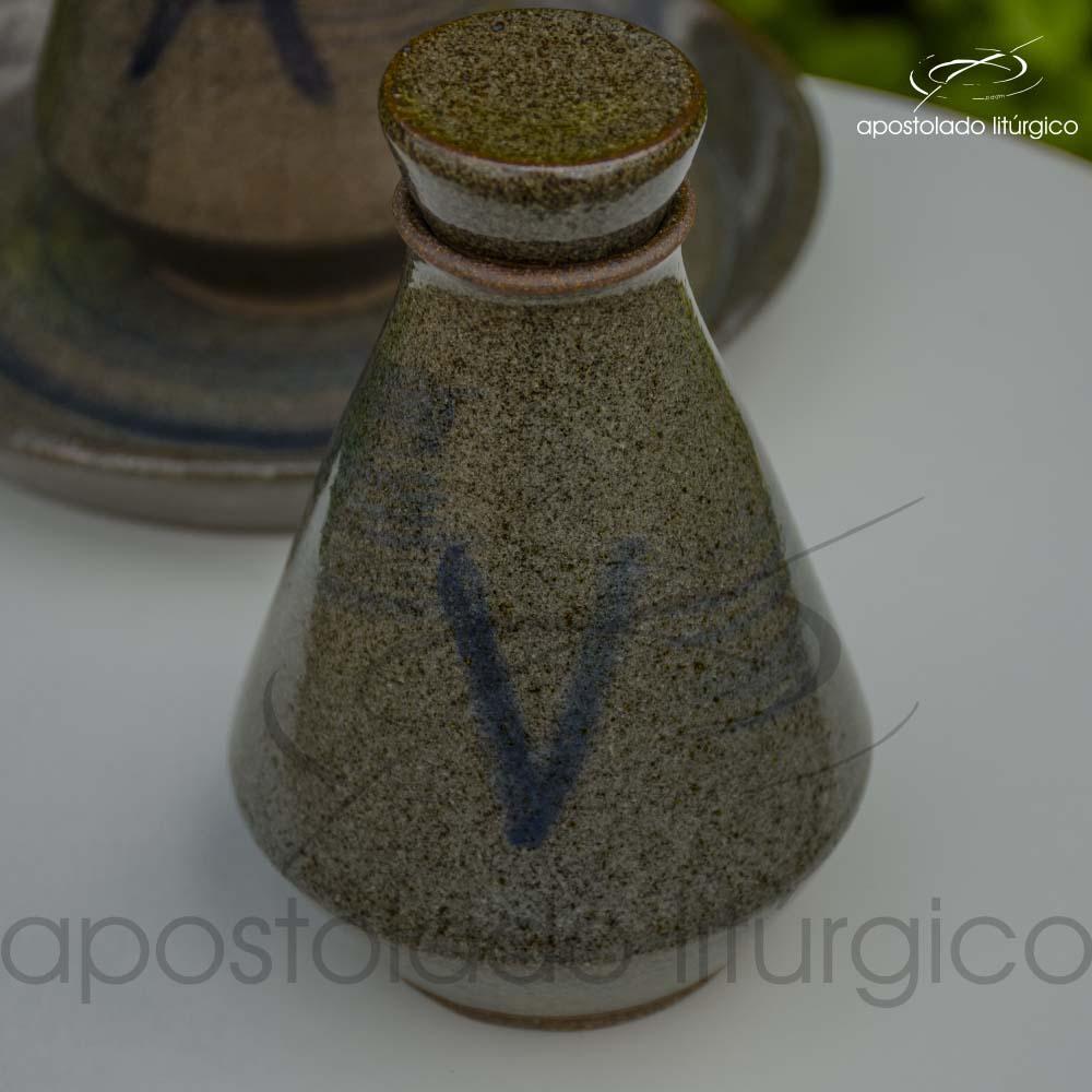 Conjunto de Galheta Cinza Esverdeado Vinho Tampa | Apostolado Litúrgico Brasil