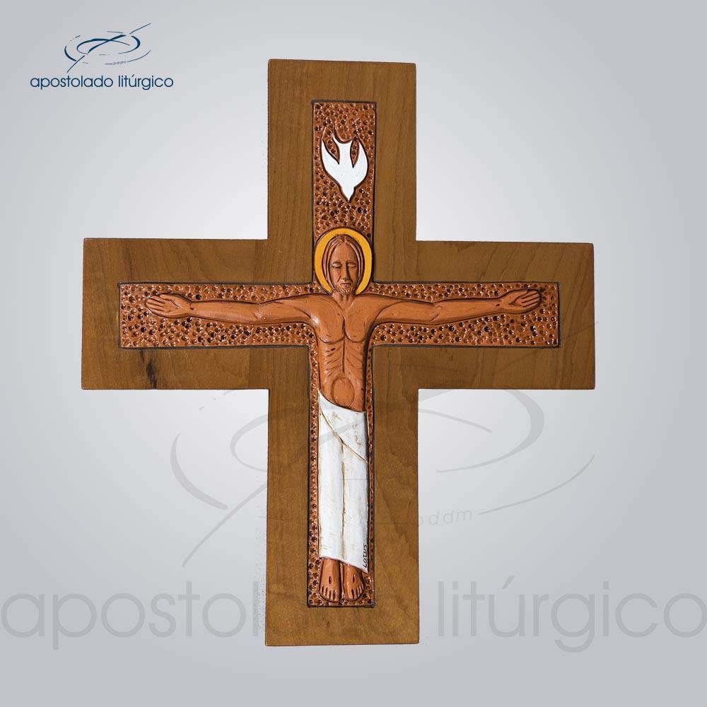 Cruz de Parede Lótus com Madeira