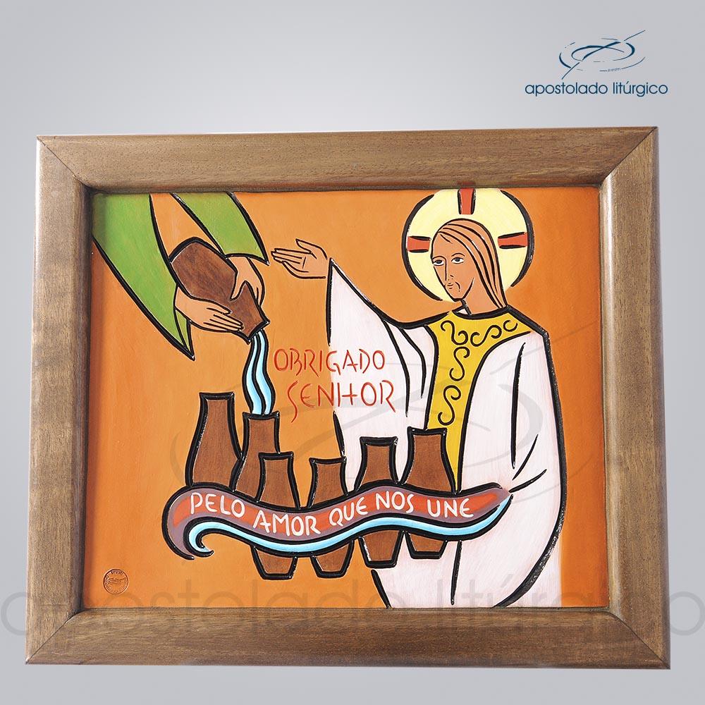Quadro Bodas de Caná com moldura em madeira 2128 | Apostolado Litúrgico Brasil