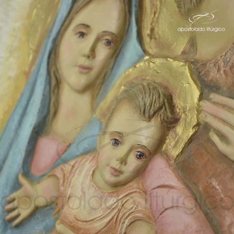 Quadro Sagrada Família com Moldura Clara 49x47cm – 4145 [Jesus e Maria]