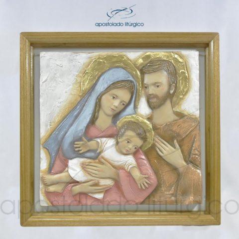Quadro Sagrada Família em Fibra e Moldura em Madeira Clara