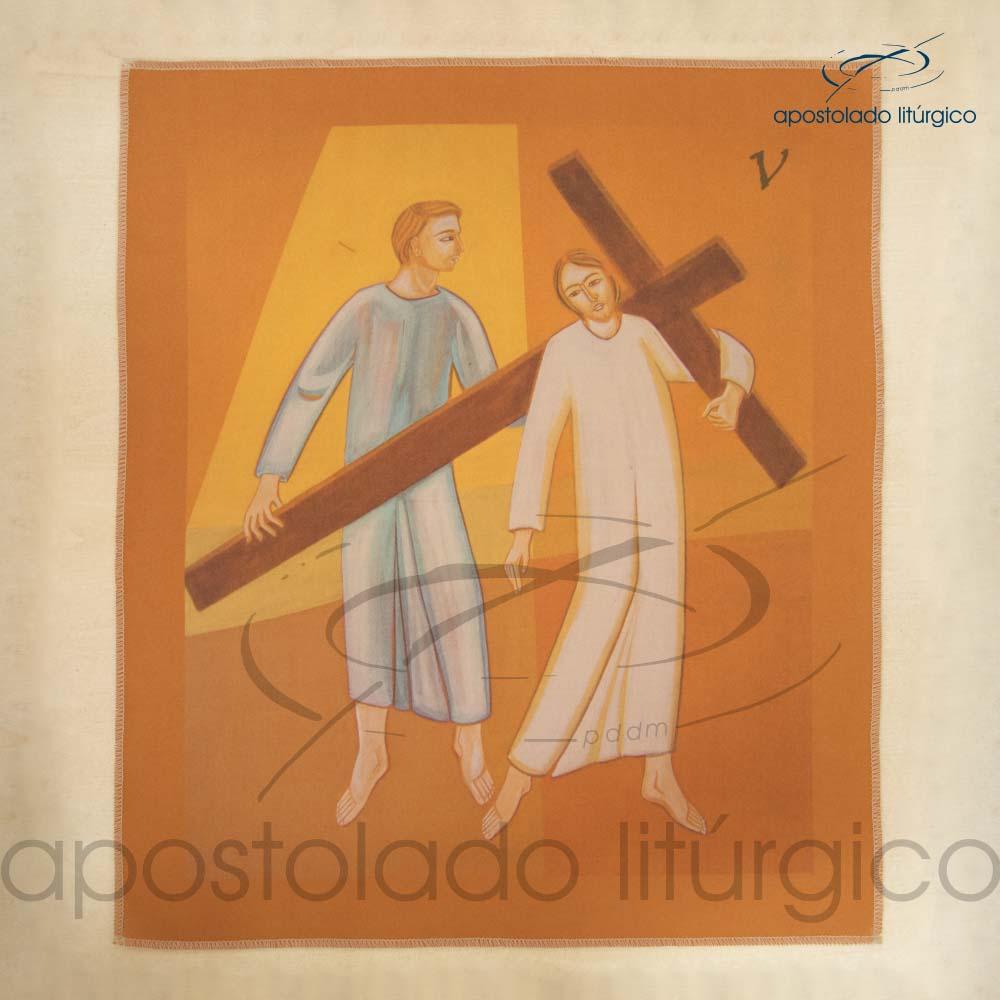 Via Sacra Estampada Estacao 05 | Apostolado Litúrgico Brasil