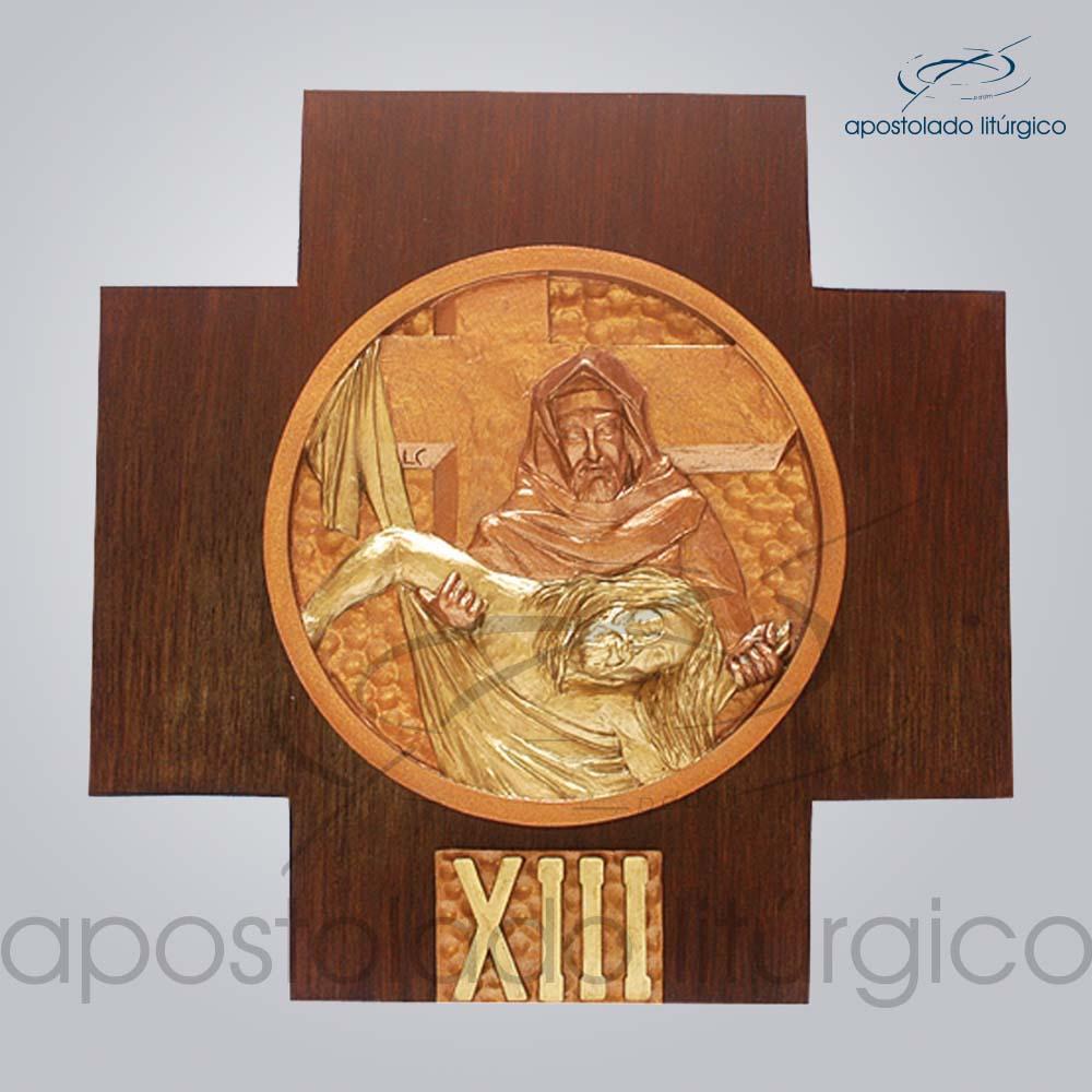 Via Sacra Madeira 21x21cm XIII Estacao   Apostolado Litúrgico Brasil