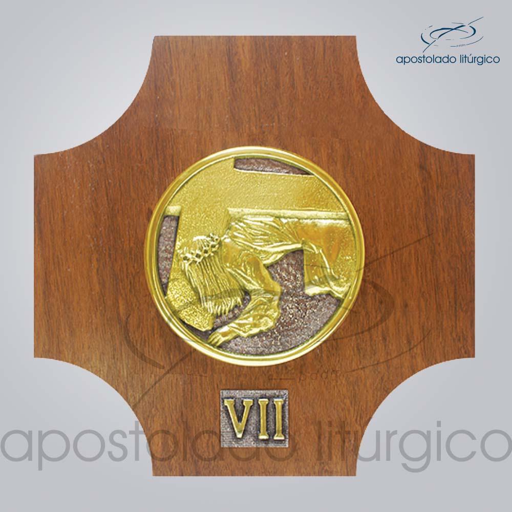 Via Sacra Madeira 26x26cm VII Estacao | Apostolado Litúrgico Brasil